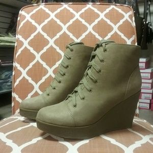 New lace up wedge shoe boot